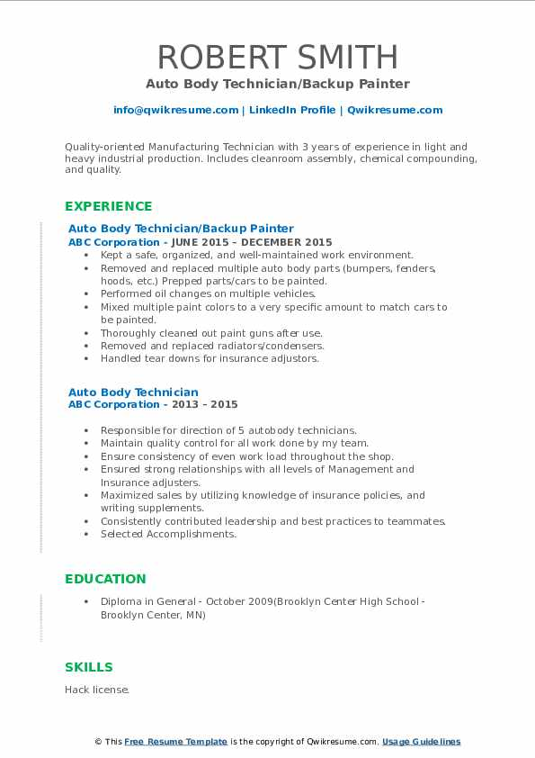 auto body technician resume samples qwikresume objective examples pdf adobe template Resume Auto Body Resume Objective Examples