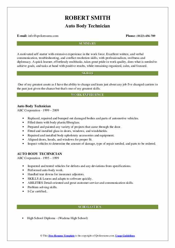 auto body technician resume samples qwikresume objective examples pdf tableau sample free Resume Auto Body Resume Objective Examples