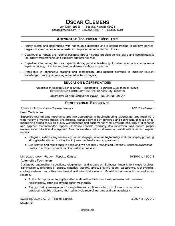 auto mechanic resume sample monster summary examples for home health aide example Resume Resume Summary Examples For Mechanic