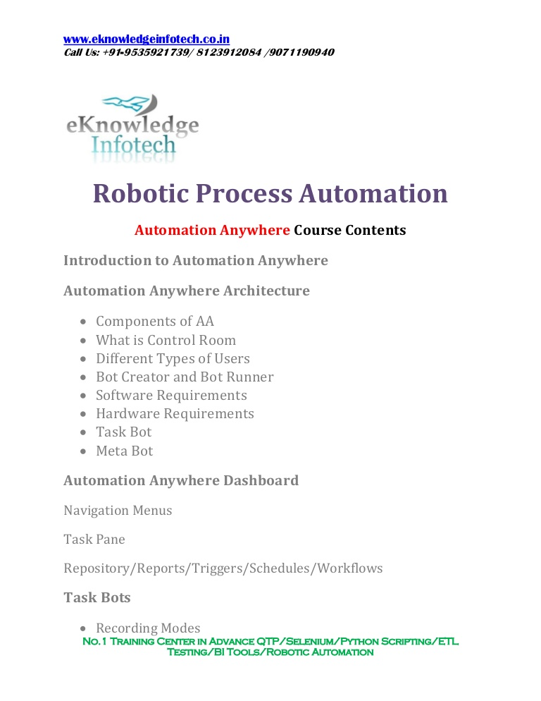 automation anywhere course contents robotic process resume automationanywhere thumbnail Resume Robotic Process Automation Resume