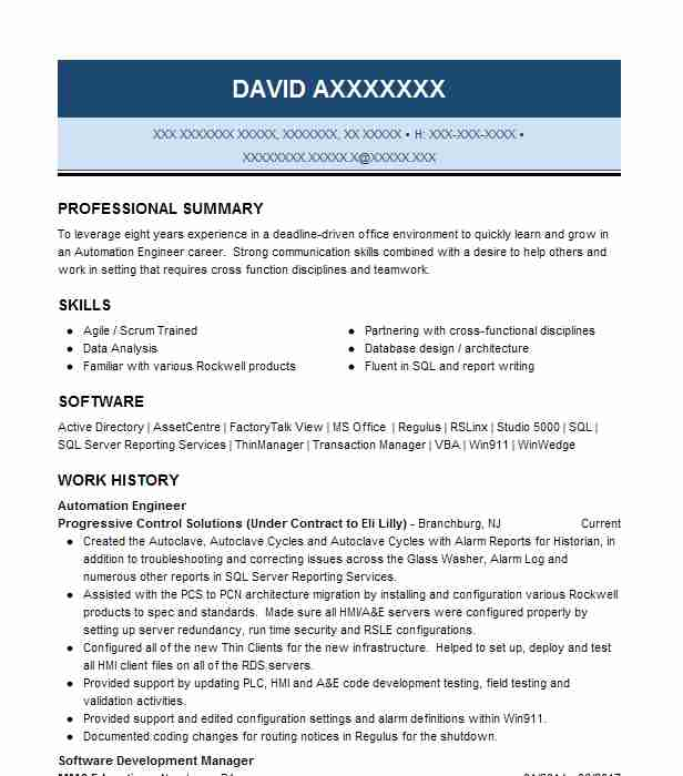 automation engineer resume example engineering resumes livecareer electrical quality Resume Electrical Automation Engineer Resume