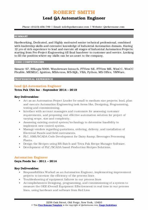 automation engineer resume samples qwikresume electrical pdf best job examples lpn cover Resume Electrical Automation Engineer Resume