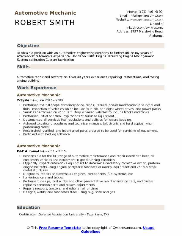 automotive mechanic resume samples qwikresume summary examples for pdf medical patient Resume Resume Summary Examples For Mechanic