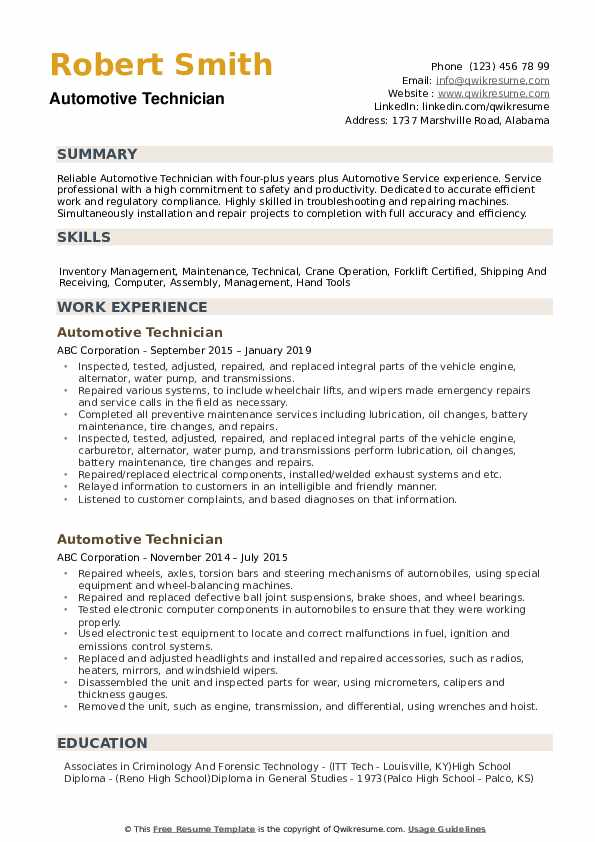 automotive technician resume samples qwikresume summary examples for mechanic pdf talend Resume Resume Summary Examples For Mechanic
