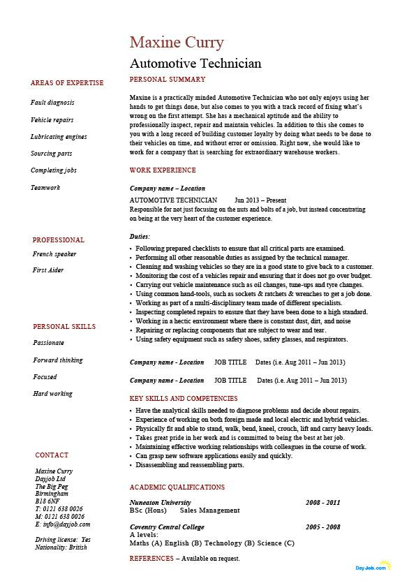automotive technician resume vehicles template example electronic diagnosis jobs entry Resume Entry Level Pharmacy Technician Resume Samples