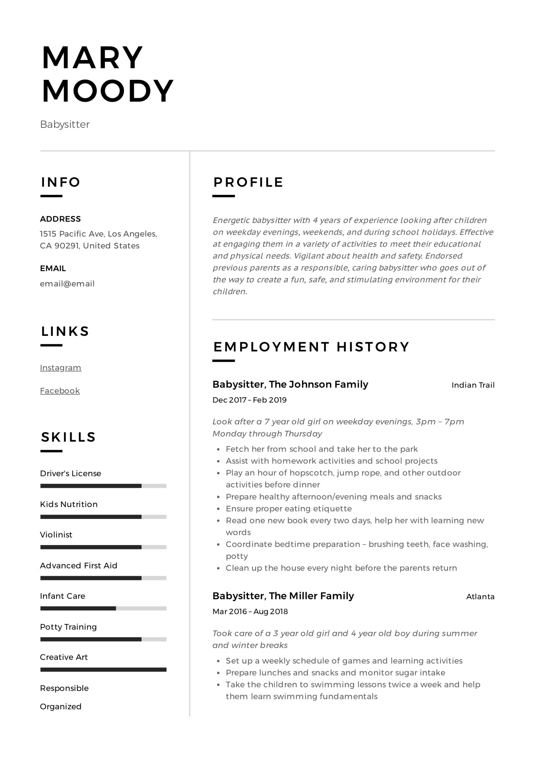 babysitter resume examples writing guide pdf job description for mary final draft Resume Babysitter Job Description For Resume