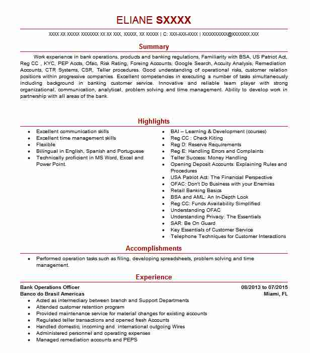 bank operations officer resume example resumes livecareer objective for job upload and Resume Resume Objective For Bank Job