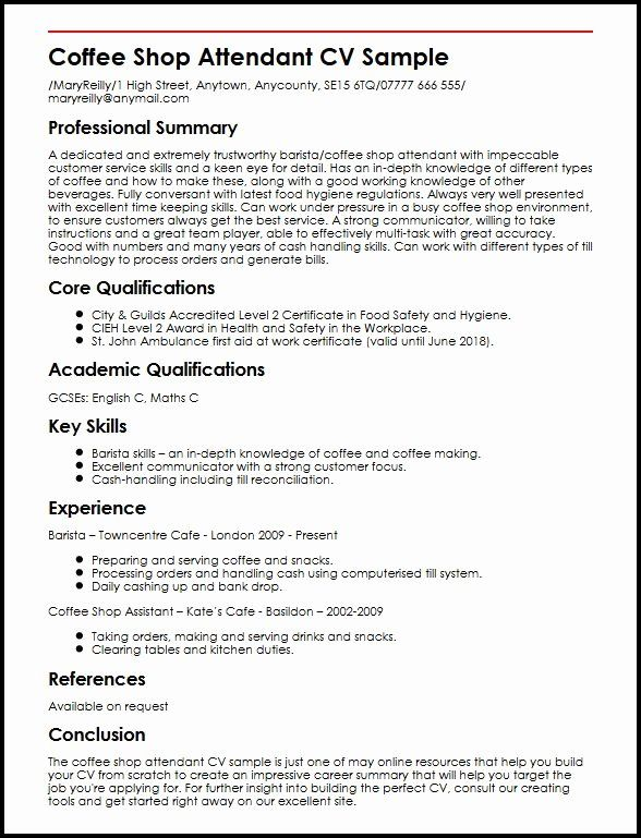 barista resume no experience fresh shop attendant cv example myperfectcv examples Resume The Perfect Resume 2018