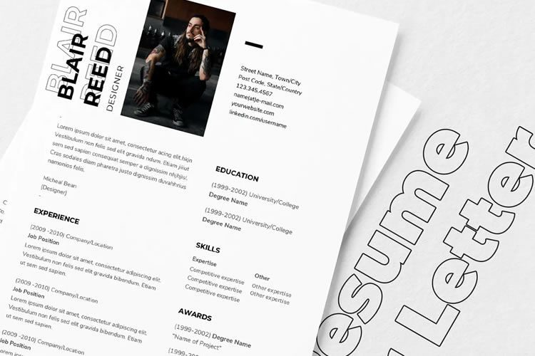 beautiful free resume templates for designers typography template th 750x500 sample rbt Resume Typography Resume Template