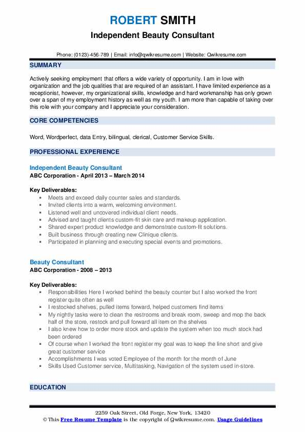 beauty consultant resume samples qwikresume limited experience pdf receptionist duties Resume Limited Experience Resume