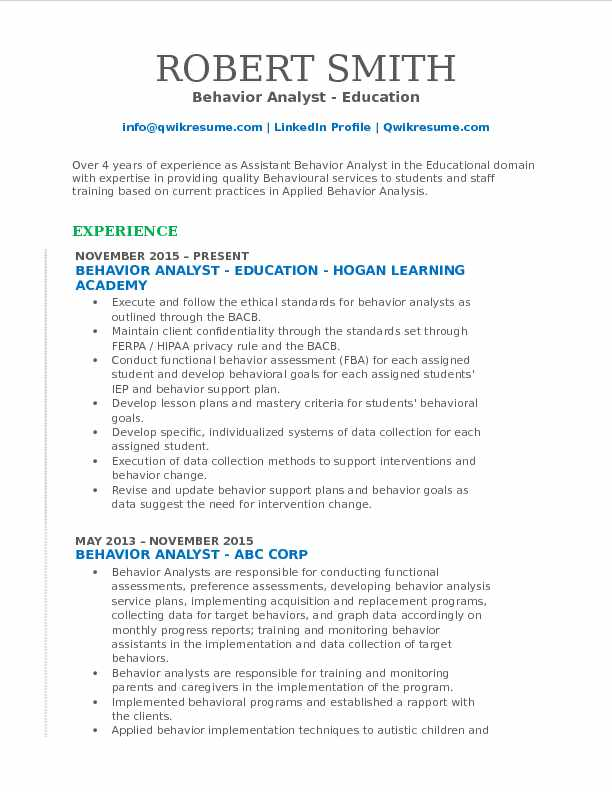 behavior analyst resume samples qwikresume applied analysis pdf career goals examples for Resume Applied Behavior Analysis Resume