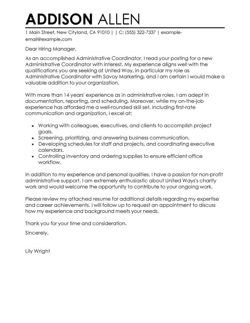 best administrative coordinator cover letter examples livecareer non profit resume Resume Non Profit Resume Objective Examples