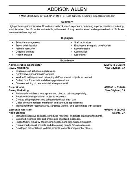 best administrative coordinator resume example livecareer operations office support Resume Operations Coordinator Resume