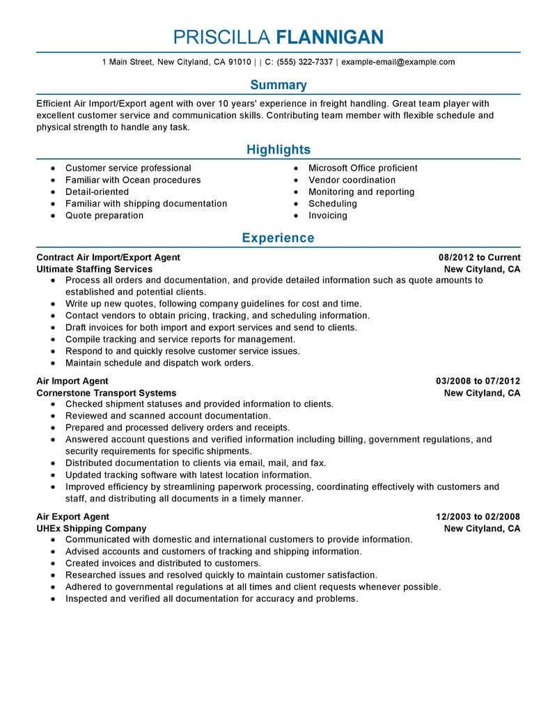 best air import export agent resume example livecareer coordinator sample government Resume Import Export Coordinator Resume Sample