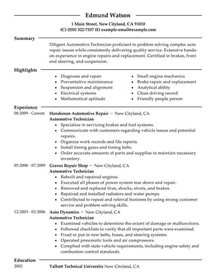 best automotive technician resume example livecareer examples objective auto body format Resume Auto Body Resume Objective Examples