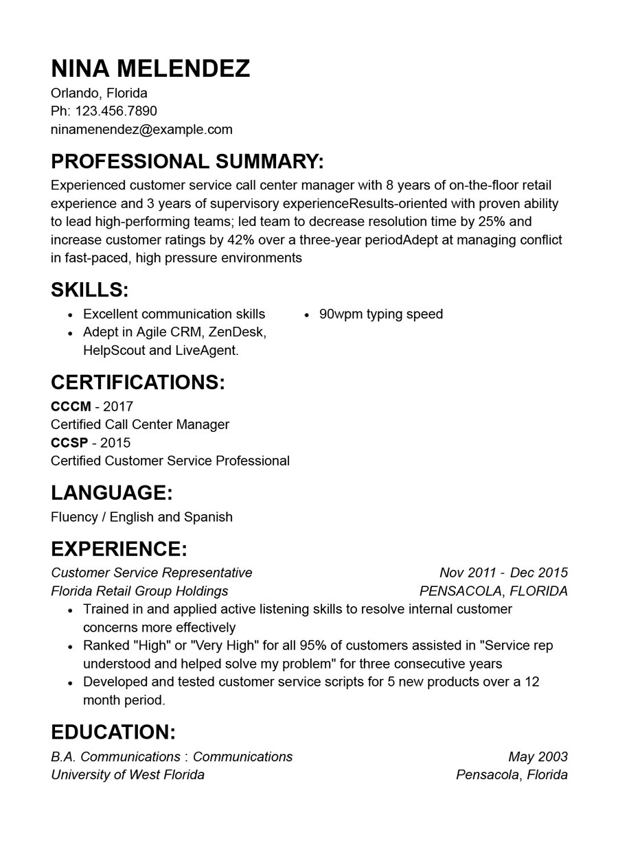 best customer service resume templates with examples template free functional indesign Resume Customer Service Resume Template Free