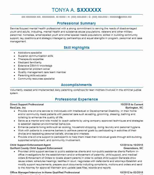 best direct support professional resume example livecareer template block style format Resume Direct Support Professional Resume Template
