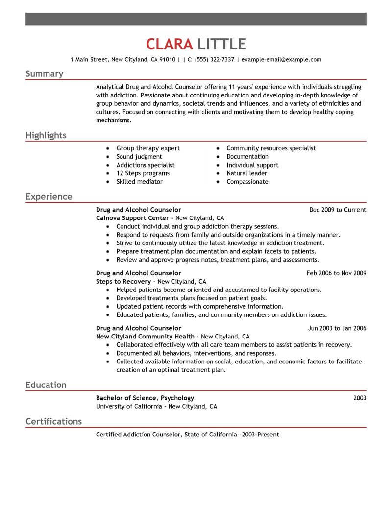 best drug and alcohol counselor resume example livecareer substance abuse social services Resume Substance Abuse Counselor Resume