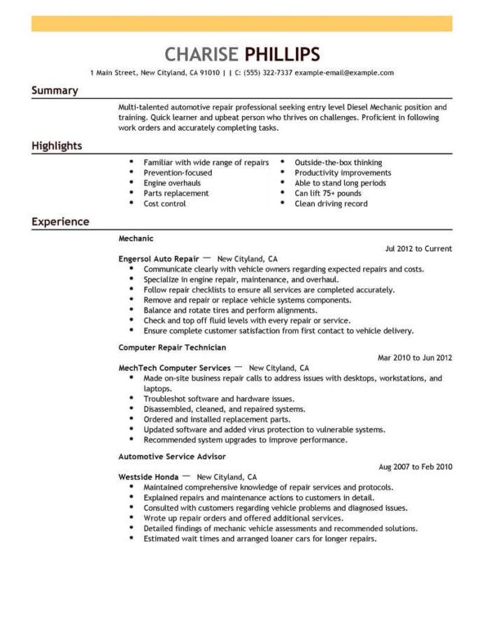 best entry level mechanic resume example livecareer summary examples for installation Resume Resume Summary Examples For Mechanic