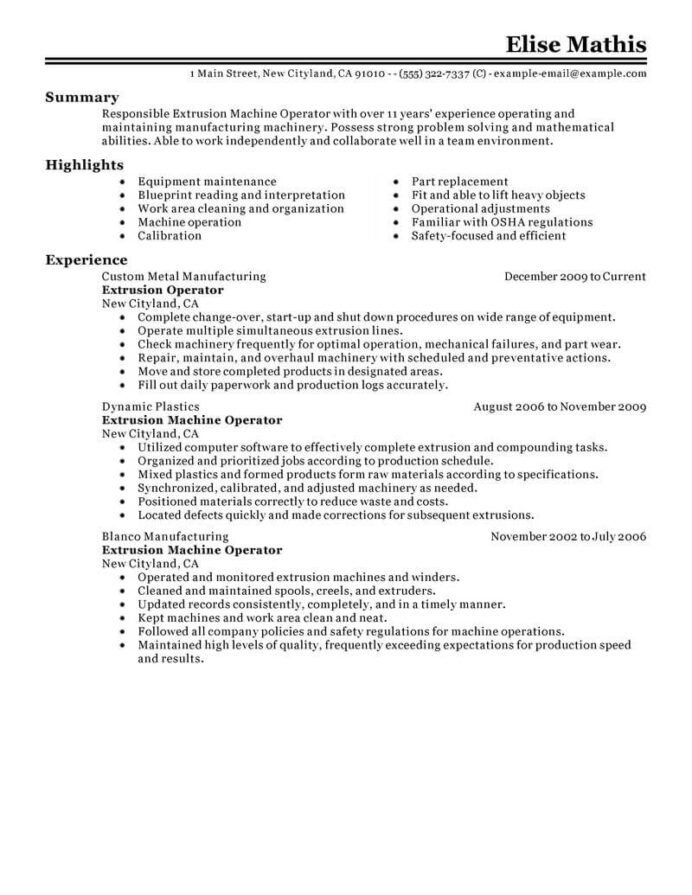 best extrusion operator resume example livecareer summary examples for production worker Resume Resume Summary Examples For Production Worker