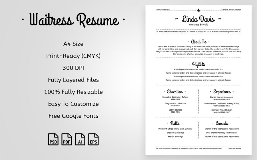 best free printable resume templates and waitress maid template with short professional Resume Free And Printable Resume Templates