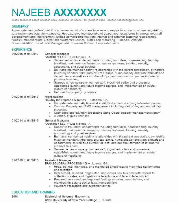 best general manager resume example livecareer sample for position work and experience Resume Resume Sample For General Manager Position