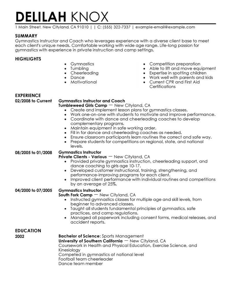 best gymnastics instructor resume example livecareer sports on wellness contemporary home Resume Sports On Resume Example