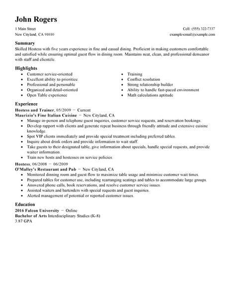 best host hostess resume example from professional writing service examples selenium Resume Hostess Resume Examples