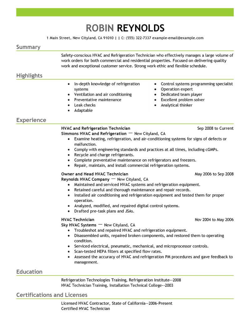 best hvac and refrigeration resume example livecareer job description maintenance Resume Hvac Job Description Resume