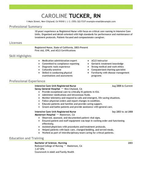 best intensive care unit registered nurse resume example livecareer writing nursing Resume Writing A Nursing Resume