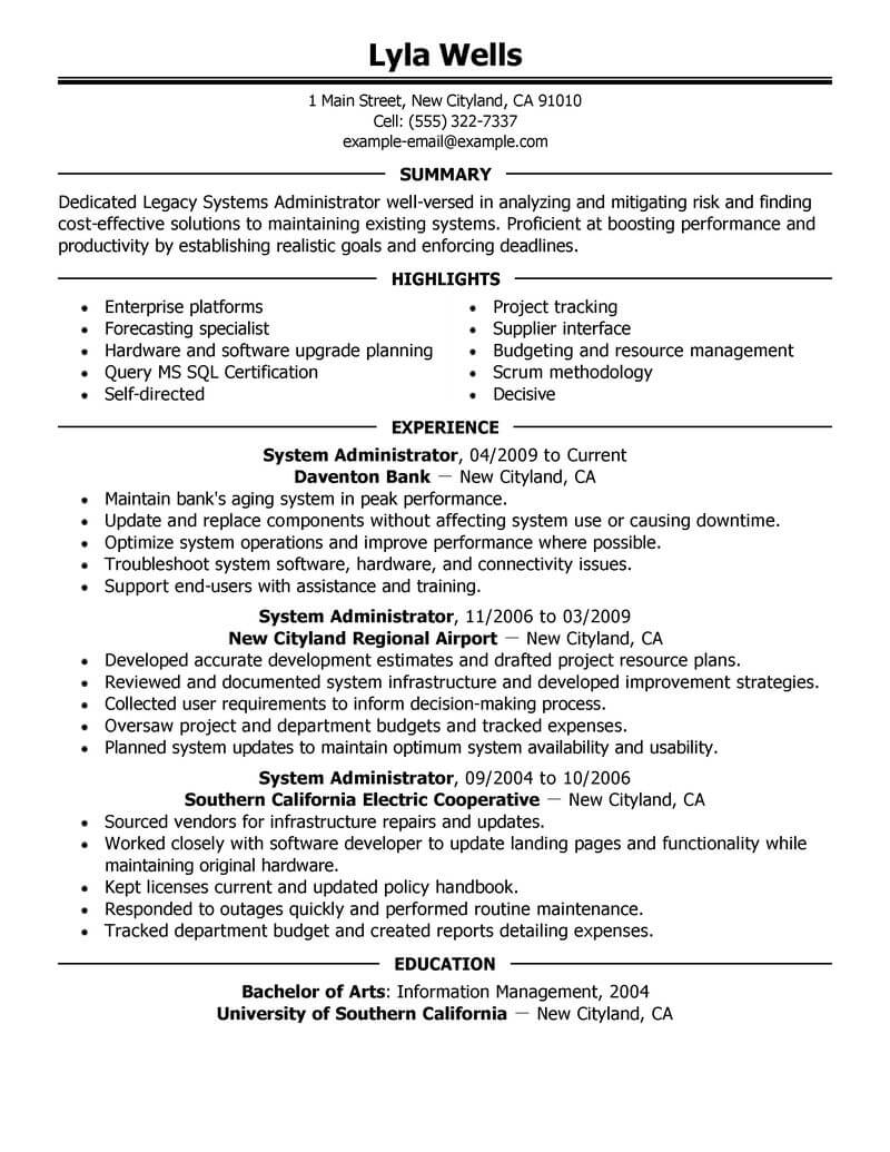 best legacy systems administrator resume example livecareer system it executive cost Resume System Administrator Resume