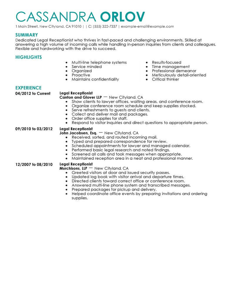 best legal receptionist resume example livecareer examples position contemporary indian Resume Resume Examples Receptionist Position