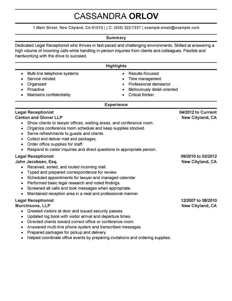 best legal receptionist resume example livecareer examples position professional summary Resume Resume Examples Receptionist Position