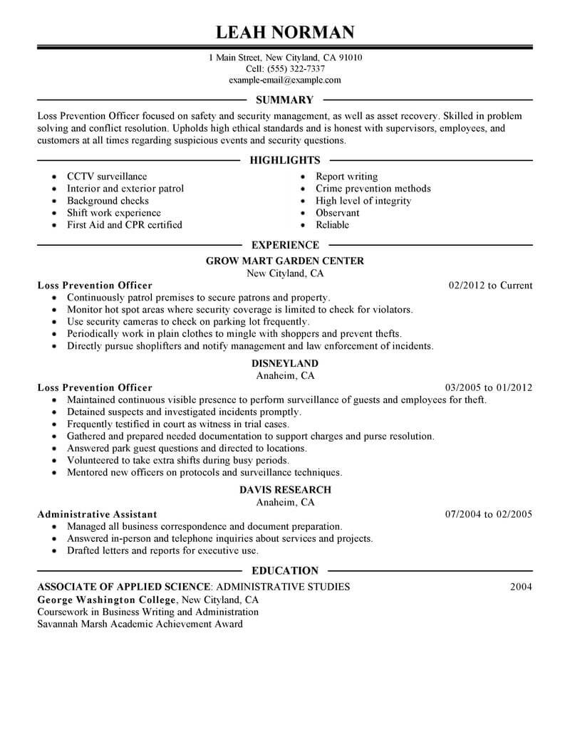 best loss prevention officer resume example livecareer manager sample emergency services Resume Loss Prevention Manager Resume Sample