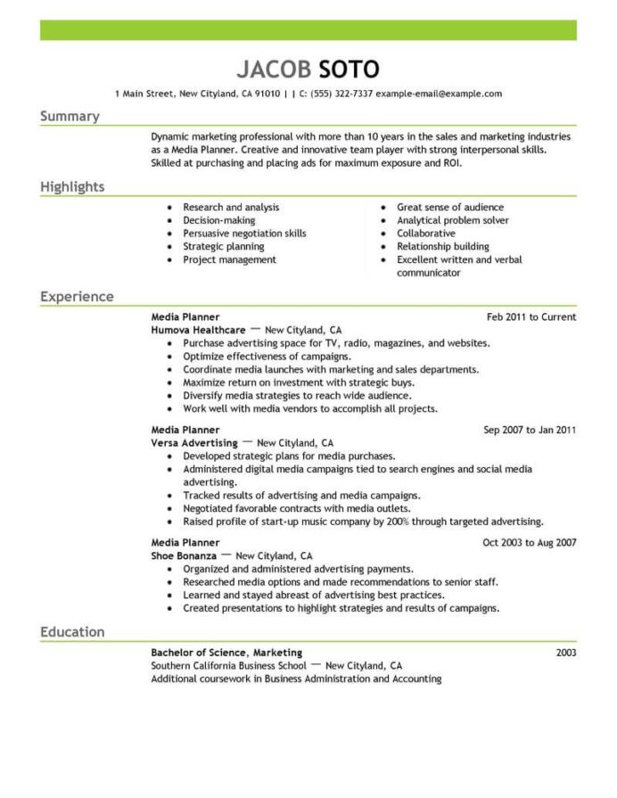 best media planner resume example livecareer successful examples marketing emphasis Resume Resume Words For Collaborate