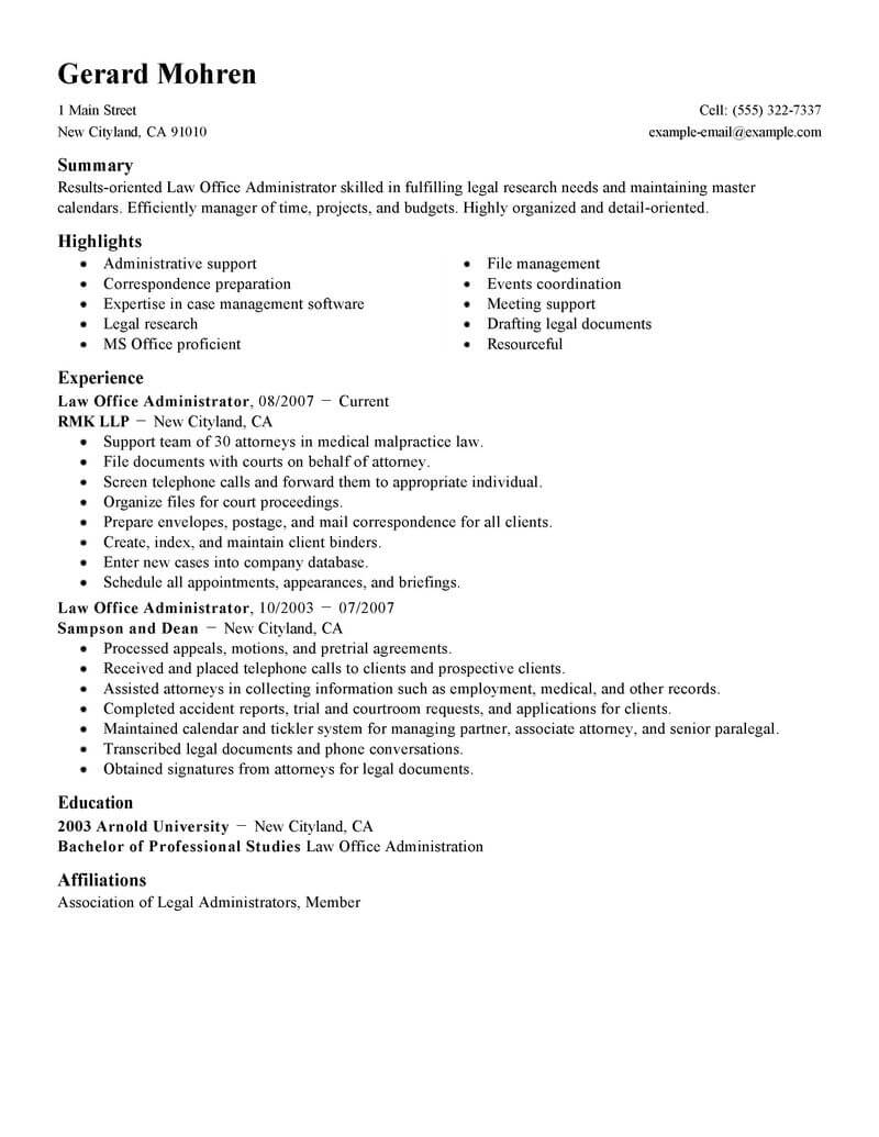 best office administrator resume example livecareer administration format legal standard Resume Administration Resume Format