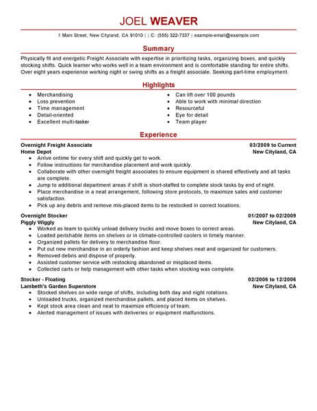 best part time overnight freight associates resume example livecareer good team worker Resume Good Team Worker Resume