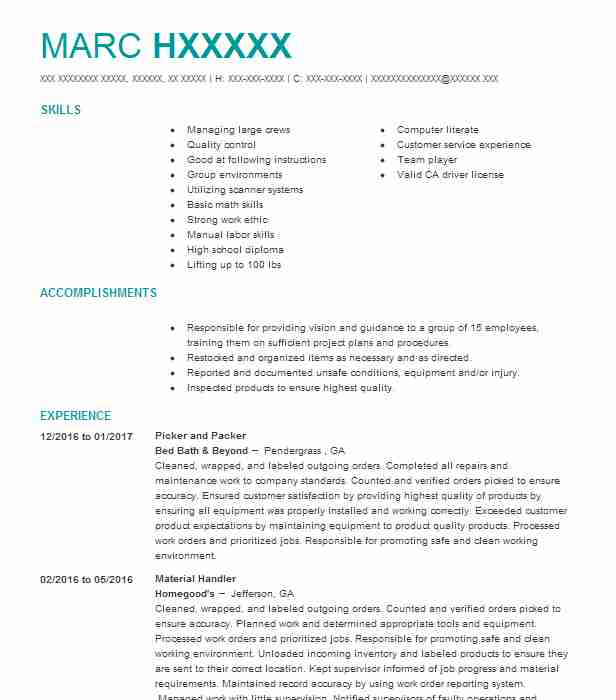 best picker and packer resume example livecareer job description for free engineering Resume Picker Packer Job Description For Resume