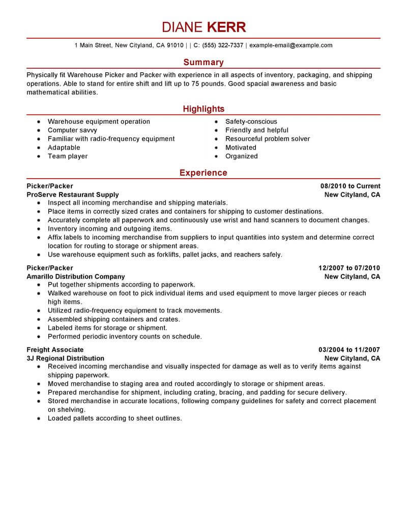 best picker and packer resume example livecareer job description for production modern Resume Picker Packer Job Description For Resume