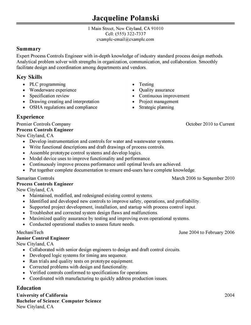 best process controls engineer resume example livecareer summary government military Resume Process Engineer Resume Summary