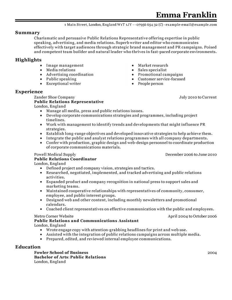 best public relations resume example livecareer student marketing classic certified Resume Public Relations Student Resume