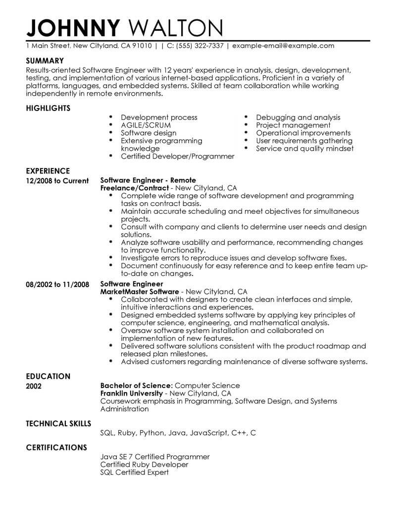 best remote software engineer resume example livecareer system format computers Resume System Engineer Resume Format