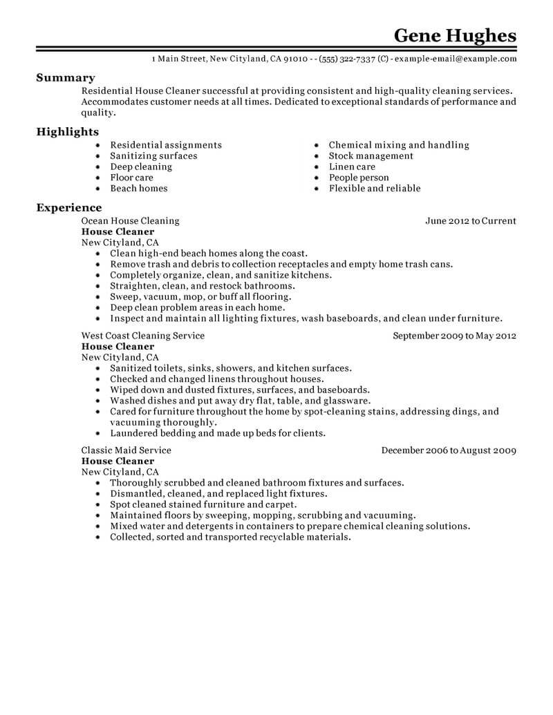 best residential house cleaner resume example livecareer samples for cleaning position Resume Resume Samples For Cleaning Position