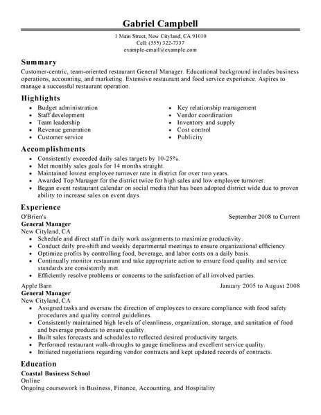 best restaurant bar general manager resume example livecareer for position food classic Resume Resume For General Manager Position