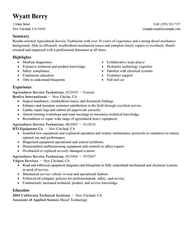 best service technician resume example livecareer summary agriculture environment Resume Technician Resume Summary
