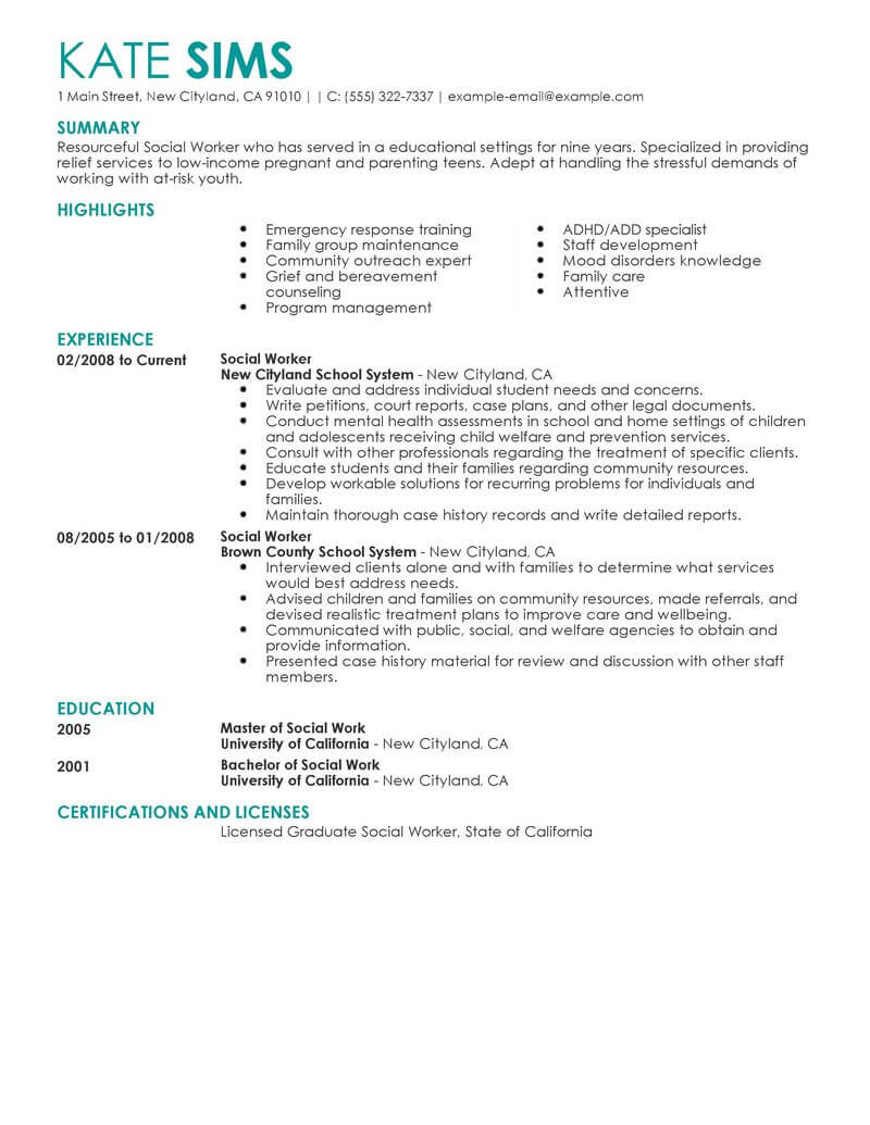 best social worker resume example livecareer medical services contemporary food service Resume Medical Social Worker Resume