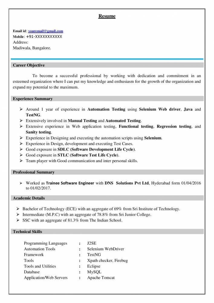 best software testing resume example for freshers experienced samples projects now Resume Selenium Resume For 1 Year Experience