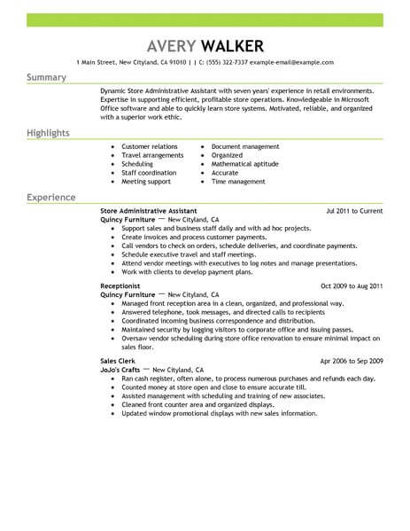 best store administrative assistant resume example livecareer admin work experience Resume Admin Work Experience Resume