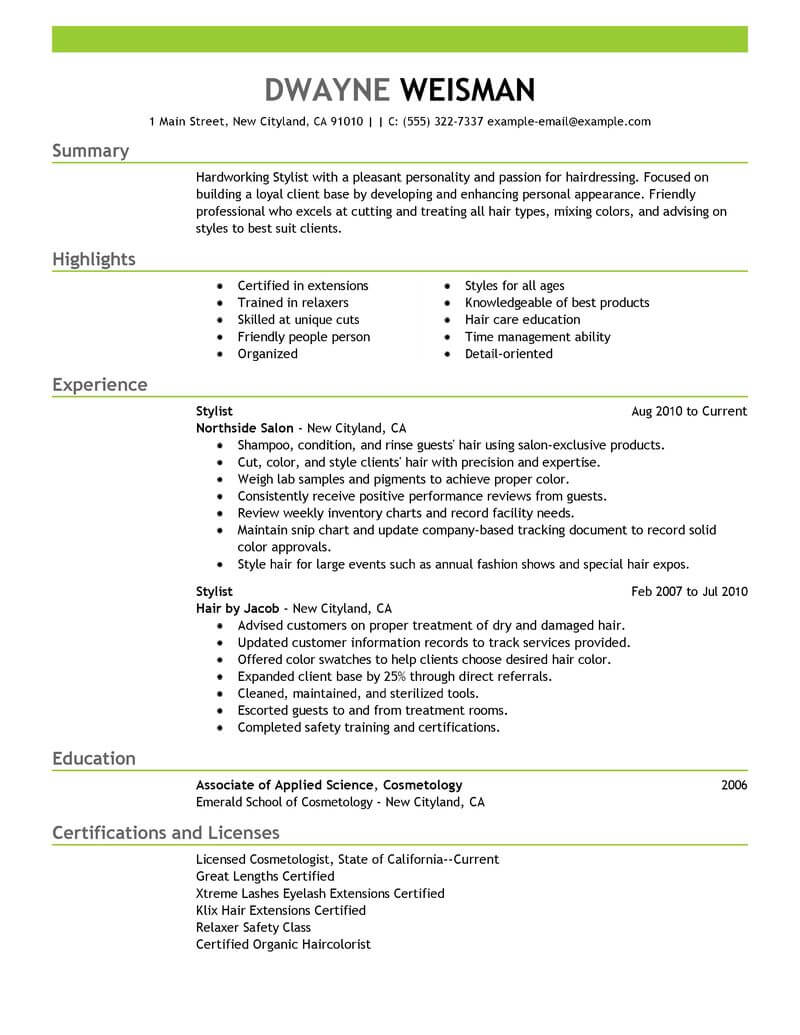 best stylist resume example livecareer fashion summary salon spa fitness emphasis Resume Fashion Stylist Resume Summary