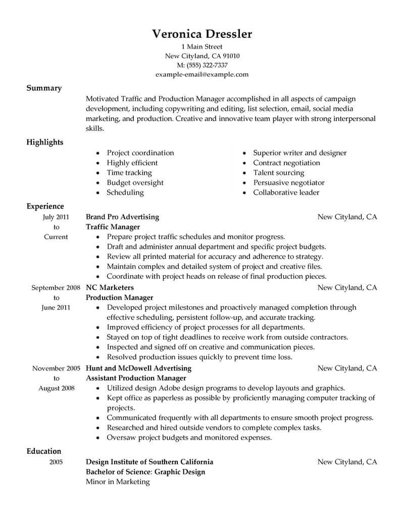 best traffic and production manager resume example livecareer marketing traditional Resume Production Manager Resume